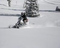 9个车手snowmachine雪上电车 免版税库存图片