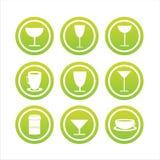9个饮料集合符号 免版税库存照片