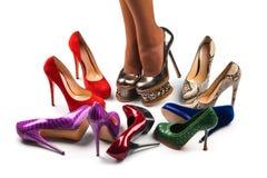 9双行程鞋子 免版税图库摄影