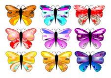 9只蝴蝶五颜六色的醒目的x 库存照片