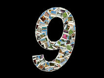 9图旅行照片拼贴画  免版税库存照片