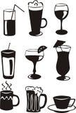 9 ícones pretos da bebida Imagem de Stock Royalty Free