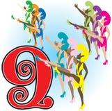 9 χορεύοντας κυρίες Στοκ φωτογραφία με δικαίωμα ελεύθερης χρήσης
