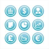 9 знаков финансов установленных Стоковое Изображение