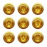 9 икон золота кнопки установили сеть Стоковое фото RF