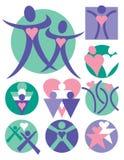 9 людей логосов собрания Стоковые Фото
