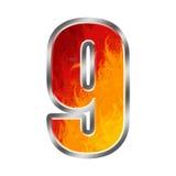 9 номер пламен 9 алфавита Стоковые Изображения