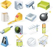 9 предметов икон разделяют установленный вектор Стоковая Фотография