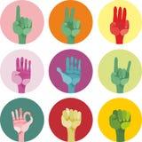 9 различных икон жестов Стоковое Фото