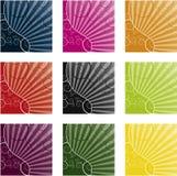 9 различных цвета предпосылки холодных swirly Стоковые Фотографии RF
