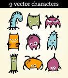 9 характеров иллюстрация вектора
