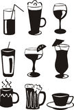 9 черных икон питья Стоковое Изображение RF