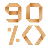 9,0,%, Origami alphabet letters from cardboard Stock Image