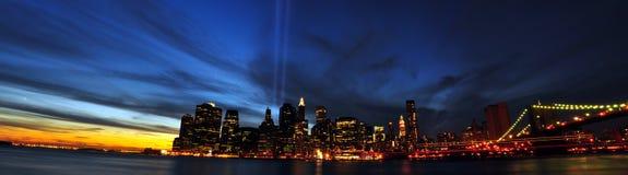 9 11 2010 ljusa nya tribute york för stad Royaltyfri Fotografi