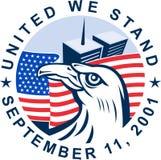 9-11 Amerikaans gedenkteken 2001 stock illustratie