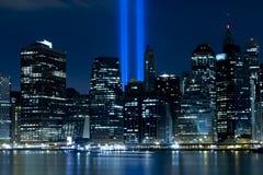 9/11 di tributo all'indicatore luminoso Fotografia Stock Libera da Diritti