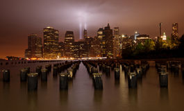 9/11 di tributo all'indicatore luminoso. New York City Immagini Stock