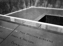 9/11 Erinnerungsbrunnen in New York Stockbild