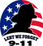 9-11 fireman firefighter. Illustration of a fireman firefighter silhouette with American stars and stripes flag in background and words Lest we forget 9-11 Royalty Free Stock Photos
