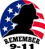 9-11 fireman firefighter. Illustration of a fireman firefighter silhouette with American stars and stripes flag in background and words Remember 9-11 Royalty Free Stock Photography