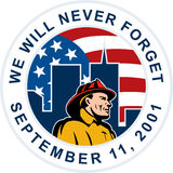 9-11 fireman firefighter wtc. Illustration of a fireman firefighter with American flag and words   we will never forget September 11, 2001 Stock Photography