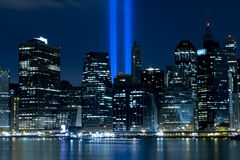 9/11 Hulde in Licht Royalty-vrije Stock Foto