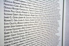 9/11 lista de la víctima Imágenes de archivo libres de regalías