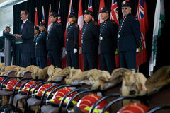9/11 mémorial de chasseur d'incendie Photographie stock