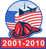9-11 memorail 2001 2011. Graphic design illustration of 9/11 memorial showing american flag  with world trade center twin tower building in the background and Royalty Free Stock Images