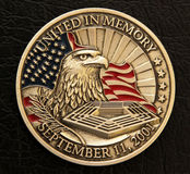 9/11 Memorial Coin. A commemorative coin of the events that shook the world, the September 11, 2001 or 9/11 bombing in New York City and Washington, DC.  The