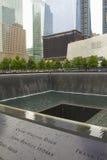 9/11 minnesmärke på slipad nolla (NYC, USA) Arkivfoto