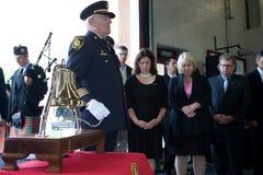 9/11 monumento del combatiente de fuego Imagen de archivo libre de regalías