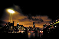9/11 Tribute In Light Panorama Stock Images