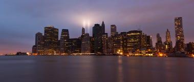 9/11 tributo en luz. New York City Imagen de archivo libre de regalías