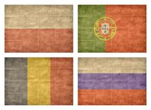 9/13 Flags of European countries. Vintage collection of european country flags isolated on white background. Poland, Portugal, Romania, Russia royalty free illustration