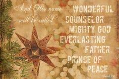 9:6 de Isaías del fondo de la Navidad Fotos de archivo libres de regalías