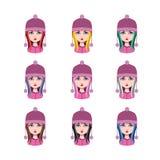 有冬天帽子的- 9种不同头发颜色女孩 图库摄影