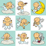 9 angel action icon. With cute and funny little angel talking to you Royalty Free Stock Photography