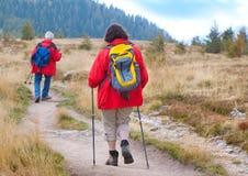 9 anziani d'escursione Fotografia Stock