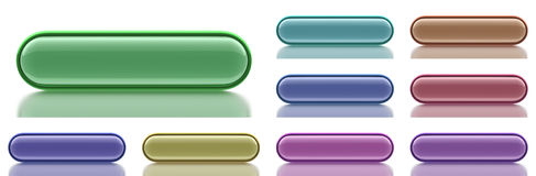 9 aqua Pill Shaped  Buttons with light reflection Stock Photo