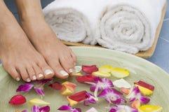 9 aromatherapy fot som kopplar av brunnsorten Arkivfoto