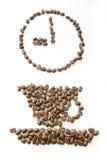 9 bönor clock kaffe Arkivbild