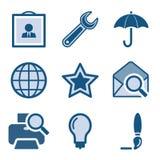 9 błękit ikony set Obraz Royalty Free