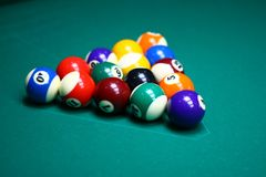 9-Ball rack of billiard balls Royalty Free Stock Images