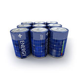 9 baterias solares Fotografia de Stock Royalty Free