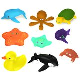9 bath toys Royalty Free Stock Image