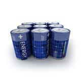 9 batterie solari Fotografia Stock Libera da Diritti