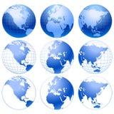9 blåa inställda jordsymboler Arkivbild