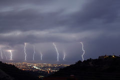 9 bolts of Lightning. Storm over Paphos 2006 showing 9 bolts of lightning Stock Photos