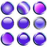 9 botones púrpuras del Web stock de ilustración